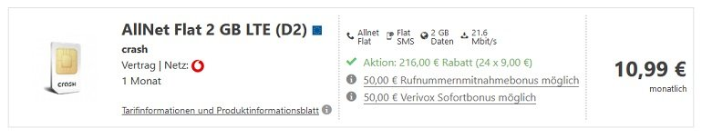 Crash Vodafone Allnet Flat mit 2GB LTE