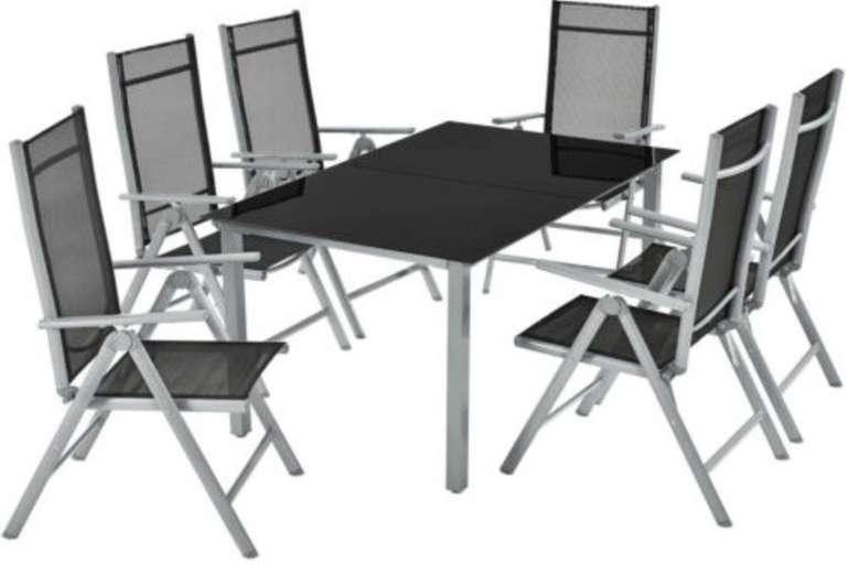 ArtLife Mailand Aluminium Gartengarnitur mit 6 Stühlen + Glastisch für 197,95€