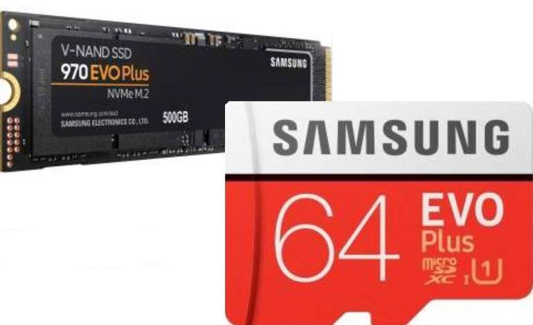 Samsung SSD 970 EVO Plus 500GB, M.2 + Samsung EVO Plus 2020 R100/W20 microSDXC 64GB Kit für 77,01€