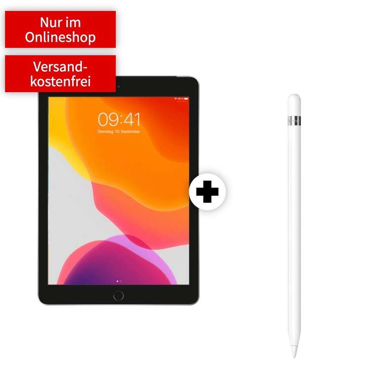 """Apple iPad 2019 - 10,2"""" Tablet (32GB, WiFi, 4G) + Apple Pencil (49€) + 15GB Telekom LTE Tarif für 19,99€ mtl."""