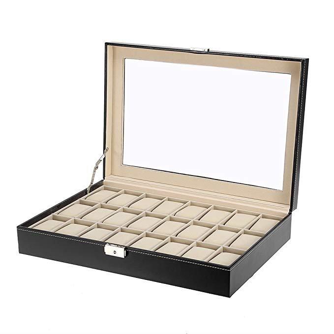 Verschiedene Mbuynow Uhrenboxen aus Kunstleder reduziert, z.B. 24er Box für 16,59€