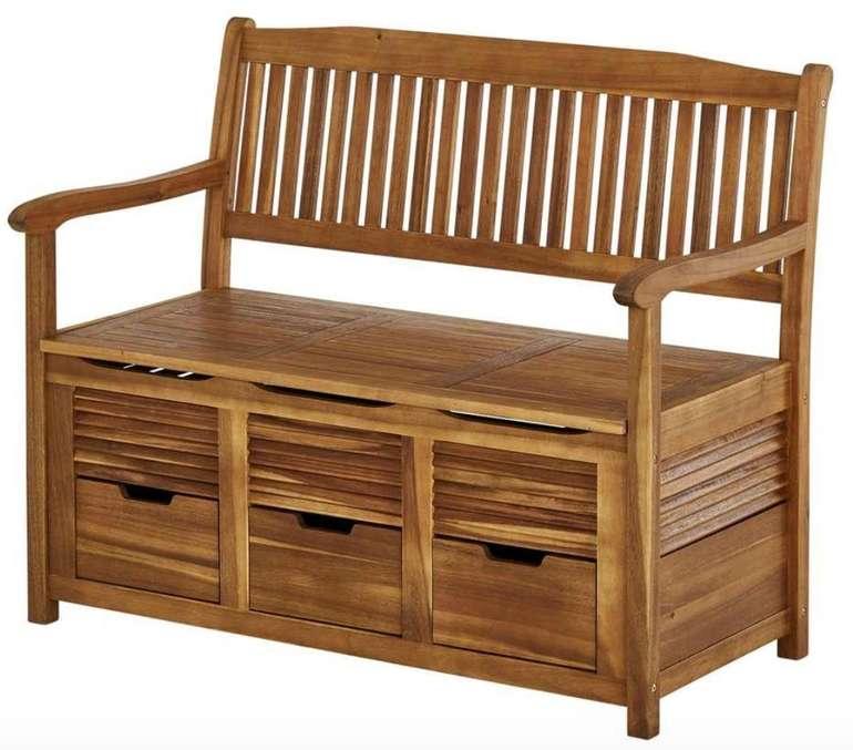 Garten Sitzbank aus Akazienholz (107 x 89 x 60cm) mit 3 Schubladen und Stauraum für 169€ inkl. Versand