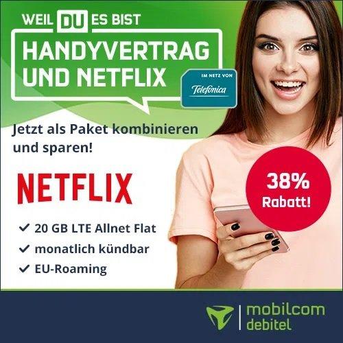 o2 Allnet- und SMS-Flat + Netflix Standard (2 Geräte, inkl. Full HD) mit 20GB LTE für 26,48€ mtl.