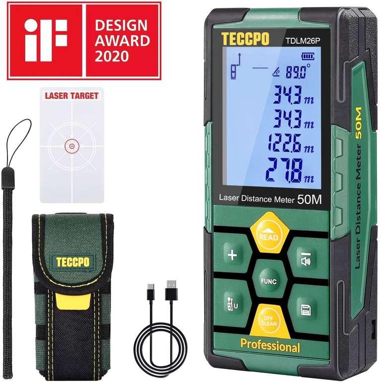 Teccpo TDLM26P Laser Entfernungsmesser (50m, USB Schnellladung) für 20,99€ inkl. Versand (statt 32€)