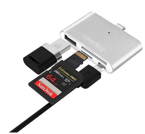 Coloriicc C4 4-in-1 OTG Type-C HUB Smart Reader für 3,38€ inkl. VSK