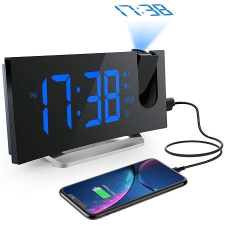 """Mpow Projektionswecker (5"""" LED-Anzeige, Radiowecker) zu 16,69€ mit Prime"""