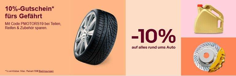 eBay 10% Rabatt auf Auto-Zubehör
