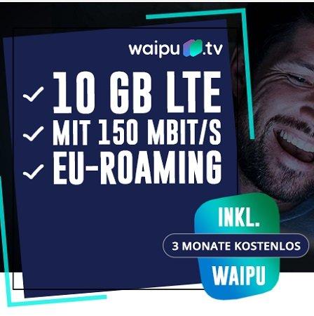 Telekom 10GB LTE Datenflat + 3 Monate Waipu TV gratis für 11,99€ mtl. (+ weitere Prämie, z.B. 25€ Amazon)