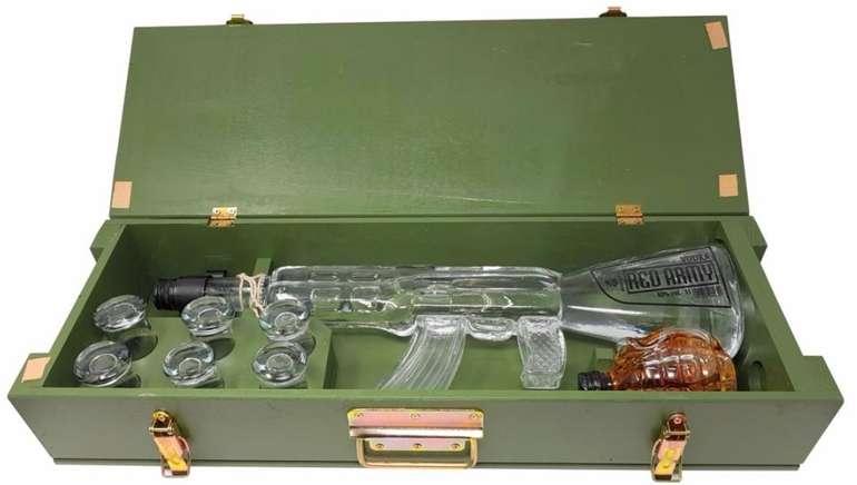 Kalashnikov Red Army Wodkaset (1 x 1 Liter) mit Kräuterlikör (1 x 0.2 Liter) und 6 Gläsern für 99,90€ (statt 136€)