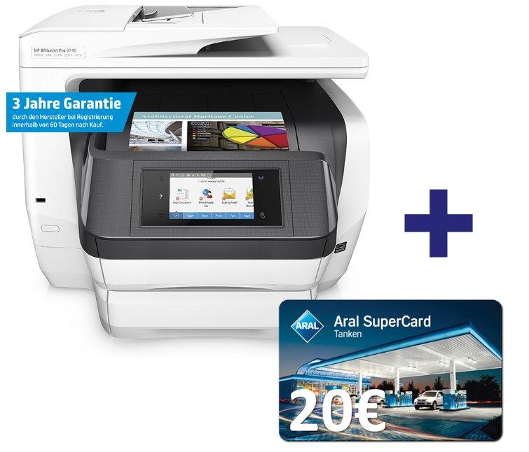 HP Officejet Pro 8740 Multidrucker + 20€ ARAL + 50€ Cashback für 269,28€