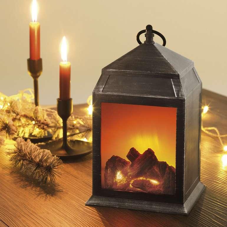 EASYmaxx 05126 LED Kamin Laterne mit Flammen Effekt  für 10,55€ (statt 15€) - B-Ware!