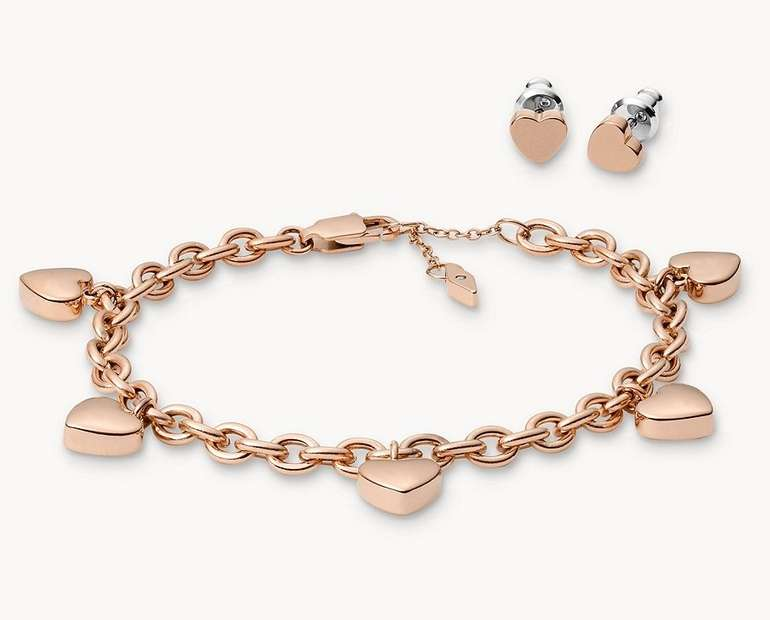 "Fossil Damen Schmuckset ""Heart Studs and Bracelet"" (JGFTSET1037) für 20€ inkl. Versand (statt 46€)"