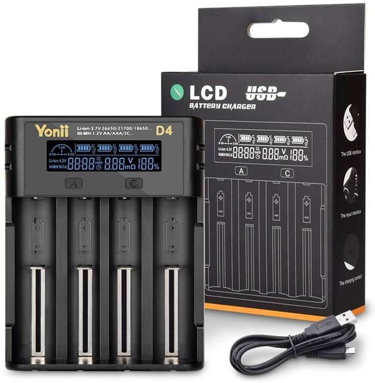 Docooler D4 LCD (18650) Batterieladegerät mit 4 Steckplätzen für 14,99€ inkl. Versand (statt 30€)