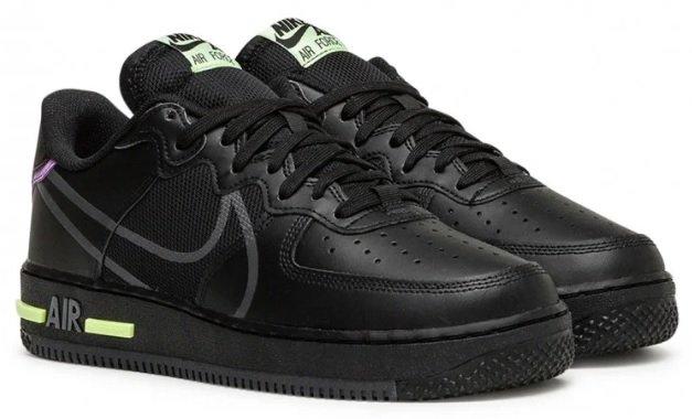 Nike Air Force 1 React in schwarz/neon grün für 89,90€ inkl. Versand (statt 119€)