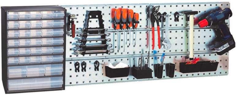 Raaco Werkstattset mit 4 Stahllochplatten und 38 Werkzeughaken für 58,90€ (statt 112€)