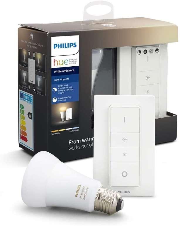 Philips Hue Light Recipe Kit mit White Ambiance E27 Leuchte und Dimmschalter für 20,99€ (statt 32€)