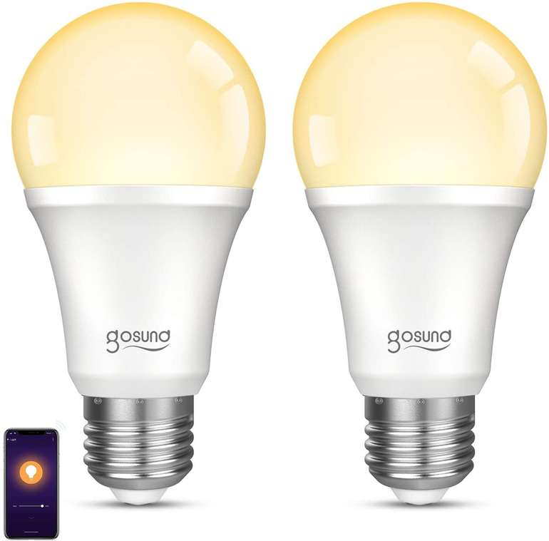 Gosund 2er Pack WiFi Lampen (E27, 2700K, Alexa/Google kompatibel) für 10,44€ inkl. Prime Versand