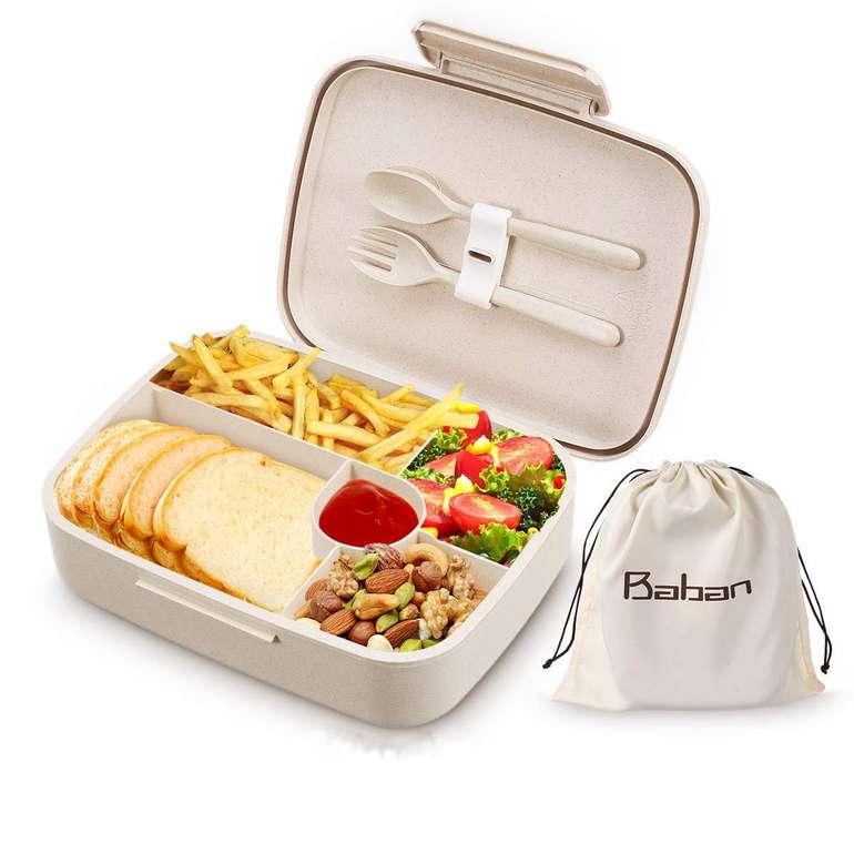 Baban Bentobox - Brotdose mit Löffel + Gabel aus Weizenstroh für 13,61€ inkl. Prime Versand