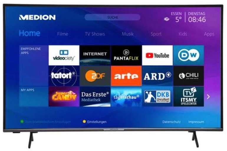 Medion Life X15556 - 58 Zoll  Ultra HD Smart-TV (HDR, Micro Dimming, PVR ready) für 399,94€ (statt 470€)