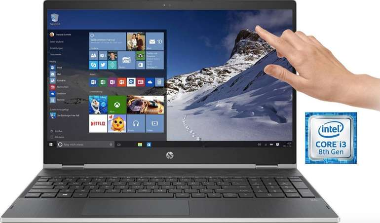 "HP Pavilion x360 15-cr0220ng Notebook (15,6"", Intel Core i3, 256 GB SSD) ab 406€"