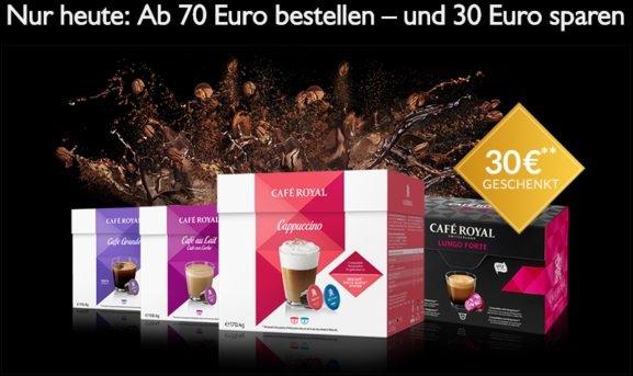 Café Royal: 30€ Rabatt ab 70€ auf Nespresso & Dolce Gusto kompatible Kapseln