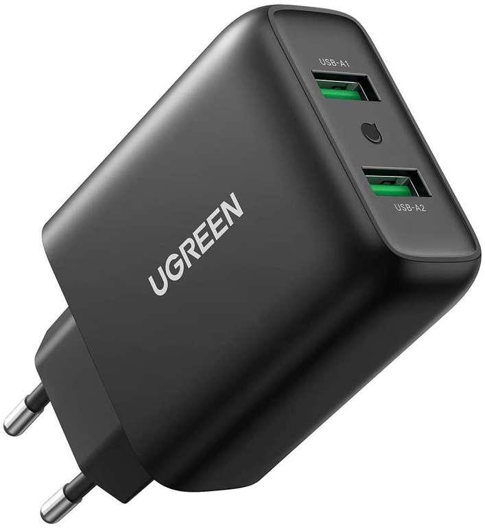 Ugreen 36W USB Ladegerät mit 2 Ports für 13,99€ inkl. Prime Versand (statt 17€)