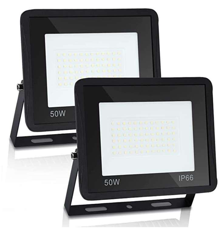 2er Pack Hegnuth 50W LED Strahler (4250 Lumen, Außenstrahler, IP66-Schutz) für 19,79€ (statt 33€)
