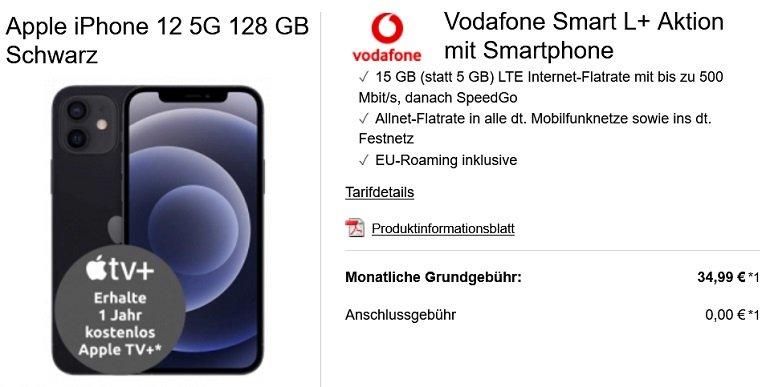 Apple iPhone 12 128GB Vodafone Smart L+ Allnet-Flat mit 15GB LTE
