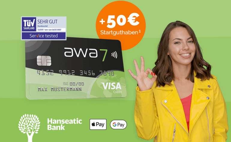 Kreditkarte: awa7 Hanseatic Visa Karte  + 50€ Guthabenbonus (+ 50 Bäume) - dauerhaft kostenlos!