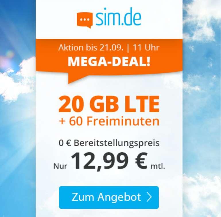 Sim.de: o2 Tarif mit 20GB LTE + 60 Freiminuten (VoLTE, WLAN Call, 3 Monate Kündigungsfrist) für 12,99€ mtl.