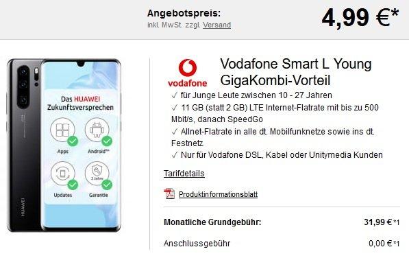 Vodafone Allnet-Flat mit 9GB LTE + Huawei P30 Pro