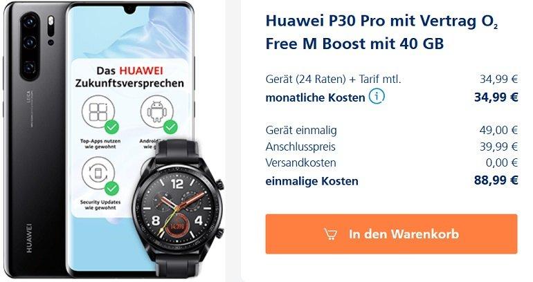 Huawei P30 Pro Huawei GT o2 Free M Boost Allnet-Flat 40GB LTE 2