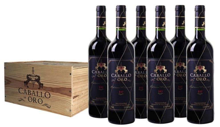 6 Flaschen Caballo de Oro Valdepeñas DO Gran Reserva (2009) in einer Holzkiste für 49,99€ (statt 70€)