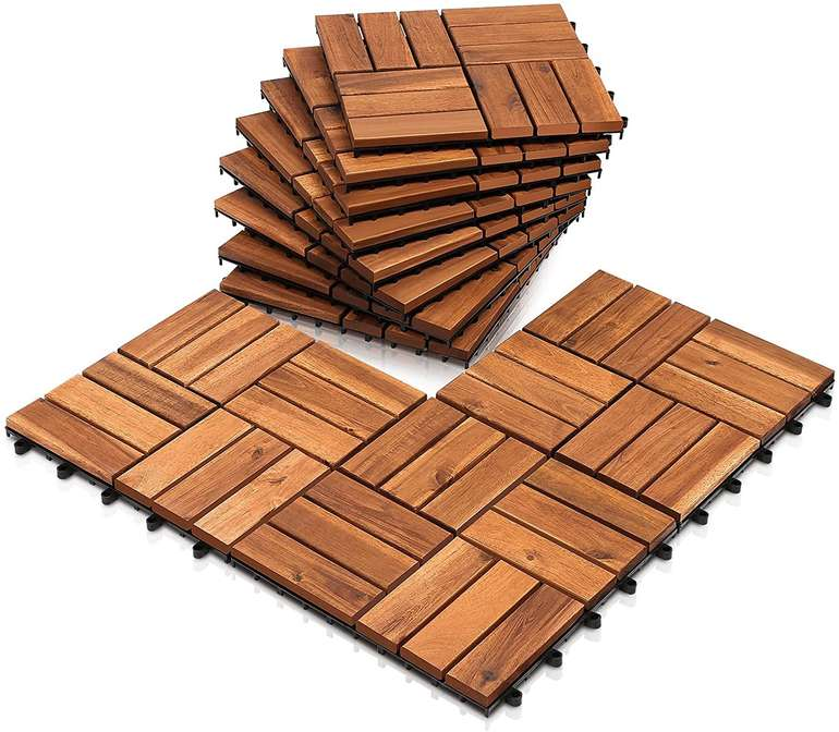 Einfeben Akazienholz Holzfliesen günstiger, z.B. 1m² für 20,29€ inkl. Versand (statt 29€)