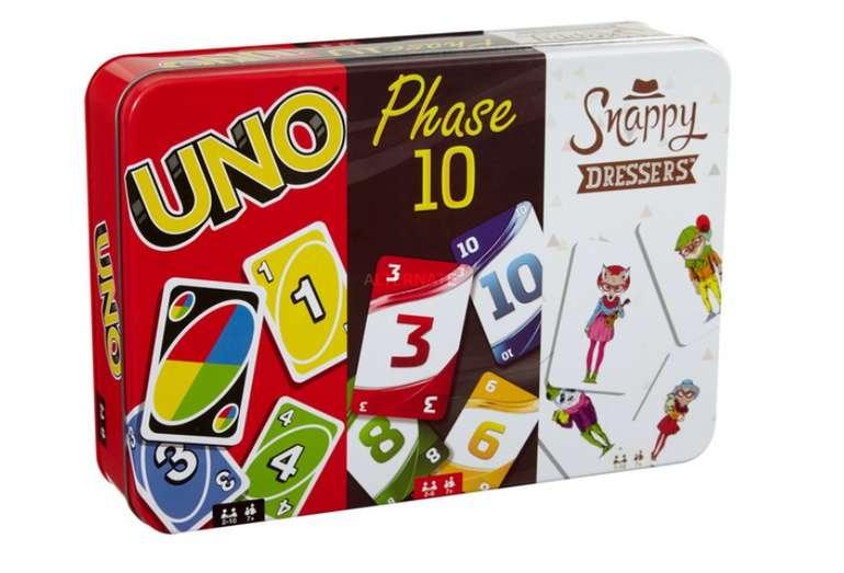 Mattel Games Kartenspielklassiker in Metalldose (UNO, Phase 10, Snappy Dressers) für 12,98€ inkl. Versand