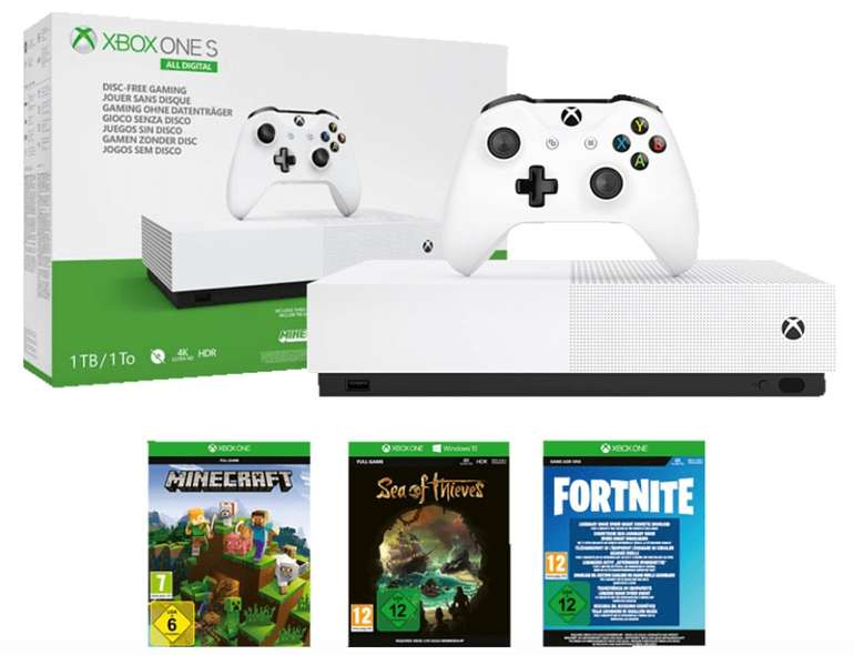 Microsoft Xbox One S 1TB All Digital Edition + Minecraft + Sea of Thieves + Fortnite für 129,99€ (statt 173€)
