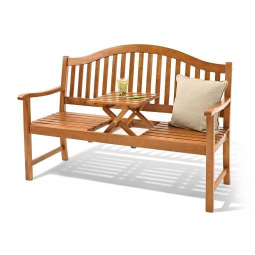 3-Sitzer Gartenbank aus Akazienholz mit hochklappbarem Tisch für 119€