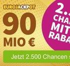 EuroJackpot: Super-Chance mit 2.500 Tipps für nur 15€ - 90 Mio. € Jackpot!