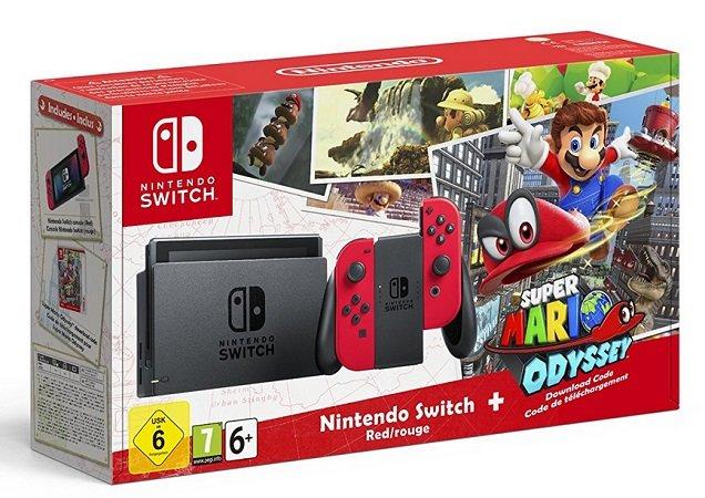 Nintendo Switch (rot) + Super Mario Odyssey für 349€ (Statt 389€)