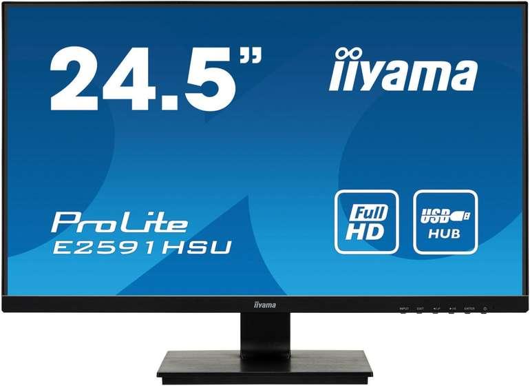 "iiyama 24,5"" Monitor E2591HSU-B1 (TN, FHD, 75 Hz, 1ms) für 106,98€ inkl. VSK"