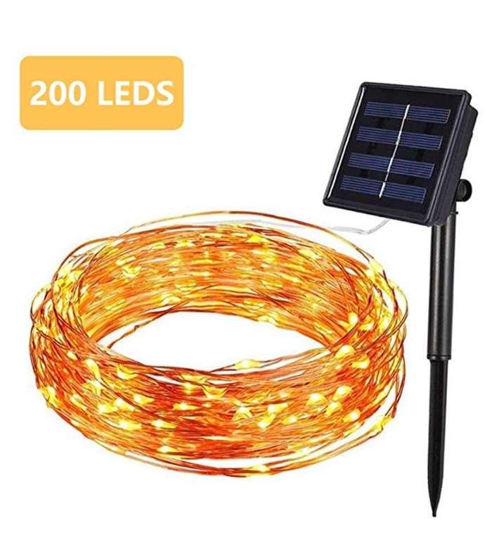 Hengda Solar Kuperdraht Lichterkette mit 200 LEDs (20m, wasserdicht) für 11,19€ (Prime)