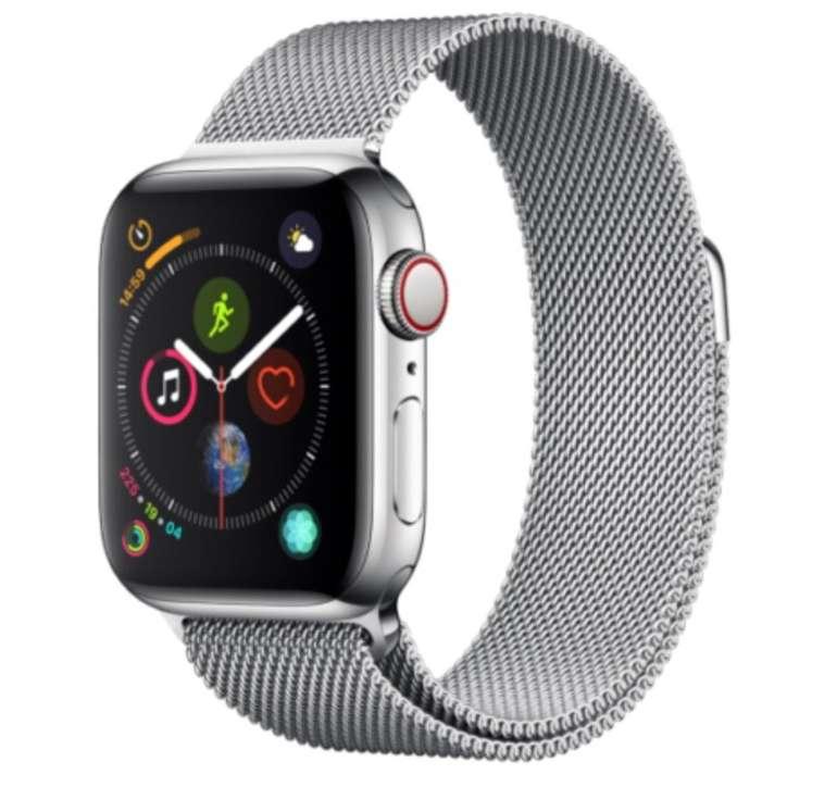 Apple Watch Series 4 (GPS + Cellular) Edelstahl 40mm silber mit Milanaise-Armband für 449€