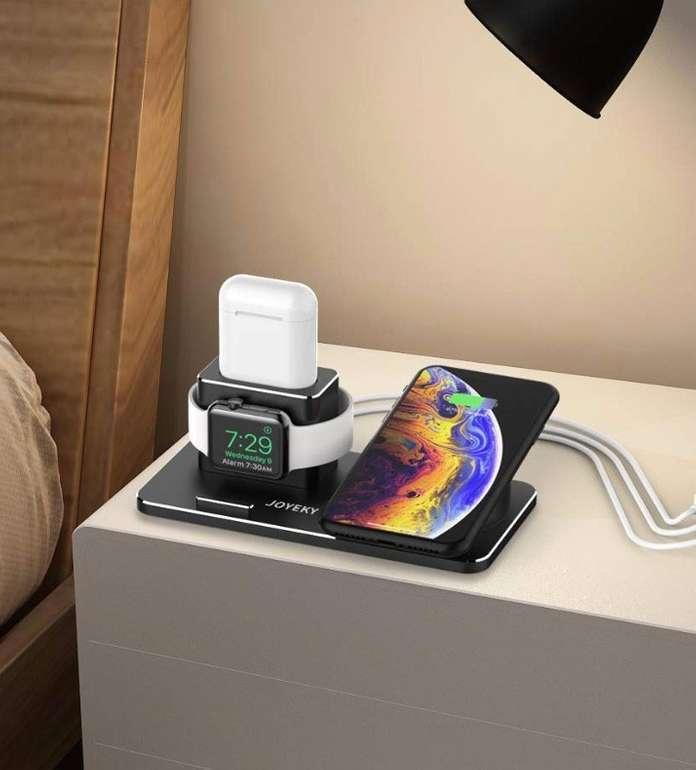 Joyeky Apple Watch/iPhone/AirPods Ladestation + 2 Ladekabel für 20,79€ (statt 37€)