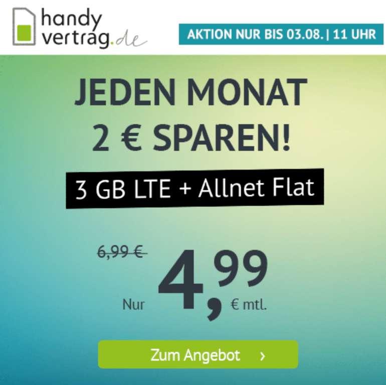 Handyvertrag.de: o2 AllNet- und SMS-Flat mit 3GB LTE für 4,99€ mtl. (monatlich kündbar!)