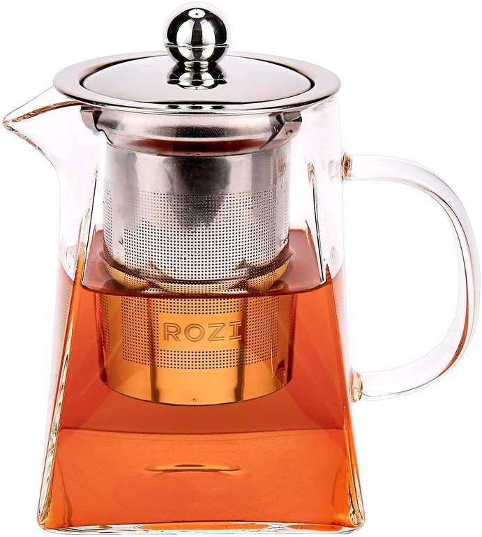 Rozi Glas Teekanne mit Stahlsieb (550 ml) für 5,99€ inkl. Prime Versand (statt 10€)