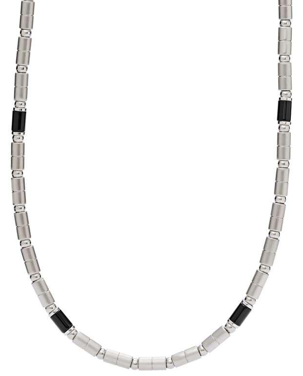 "Fossil Herren Halskette ""Black Agate Stainless Steel"" (JF02927040) für 21€ inkl. Versand (statt 46€)"