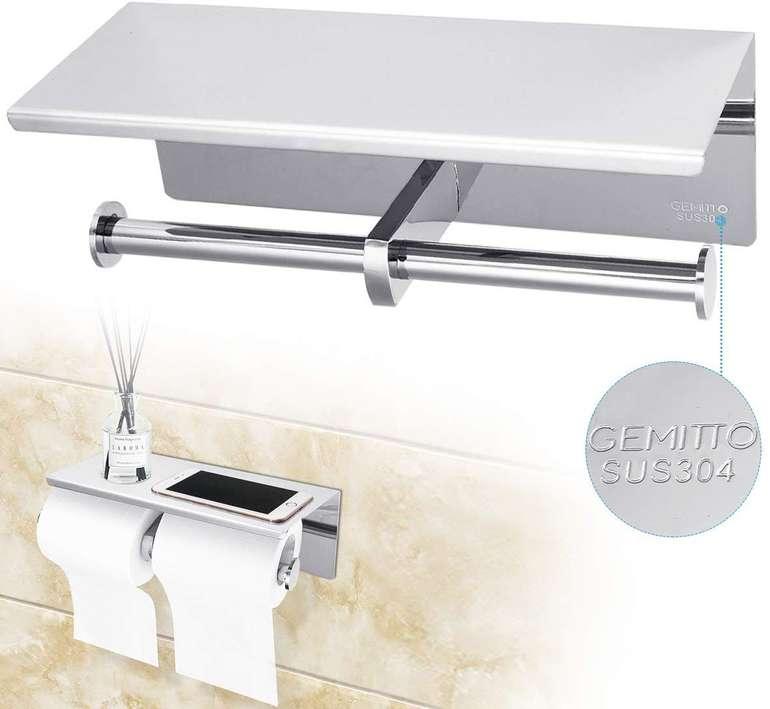 Gemitto Toilettenpapierhalter mit Platz für 2 Rollen + Ablagefläche für 16€ (Prime)