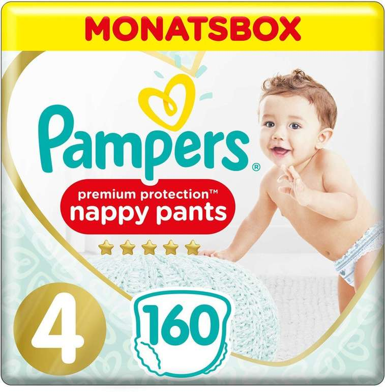 Windeln.de: 33% Rabatt auf Pampers Baby Dry Pants & Premium Protection Pants, z.B. 160er Pack für 31,48€