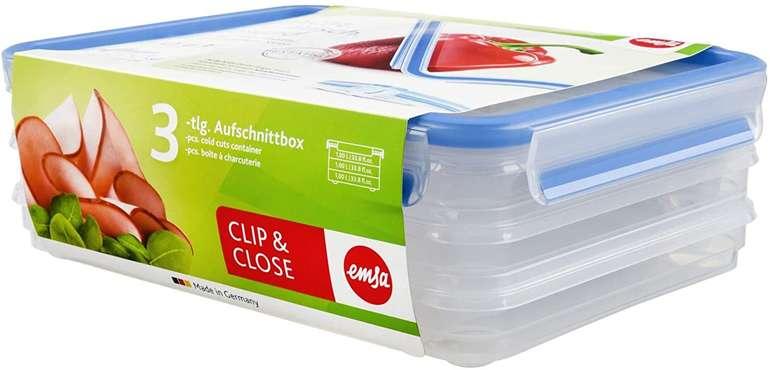 Emsa 508556 Aufschnittbox - 3er Set je 1 Liter mit Clip & Close für 6,47€ mit Prime Versand (statt 10€)