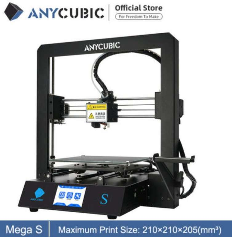 Anycubic i3 Mega S Voll-Metall FDM 3D Drucker (große Druckgröße, 3,5″ TFT, doppelte Z-Achse) für 201,60€